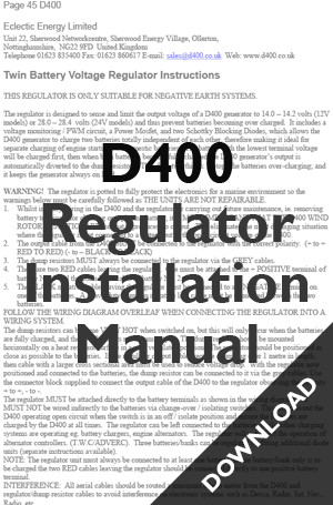 Regulator instructions D400